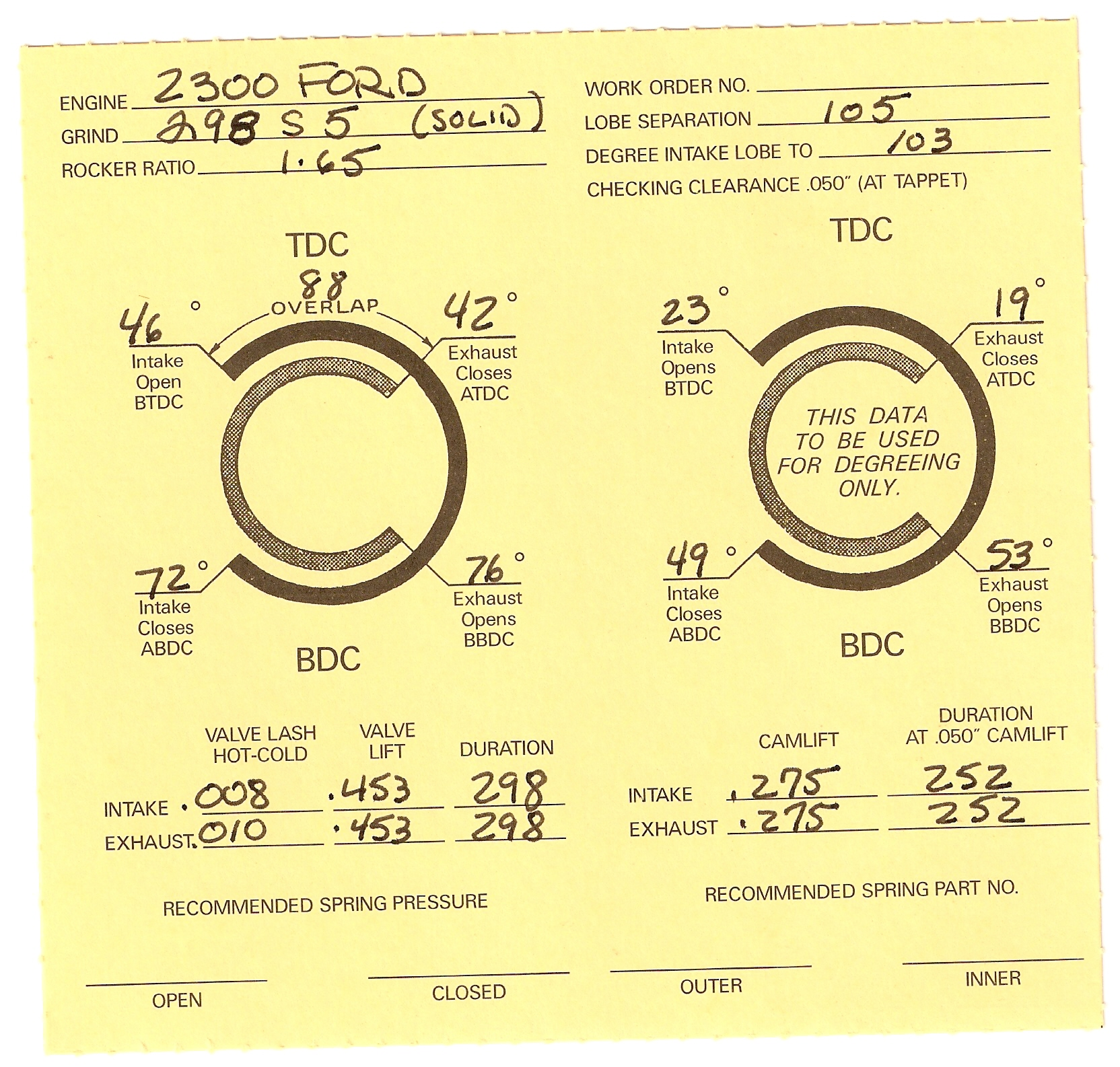 Ford 2300 And 2000 Engine Parts Online Race Engineering Stroker Diagram 3 1 Cam Card Fd 5 Solid